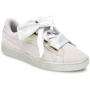 Puma basket heart satin ribbons suede shoes